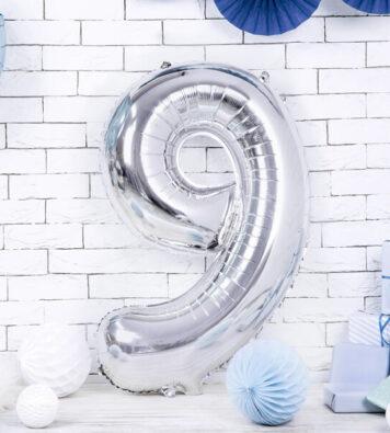balony na hel cyfra srebrna